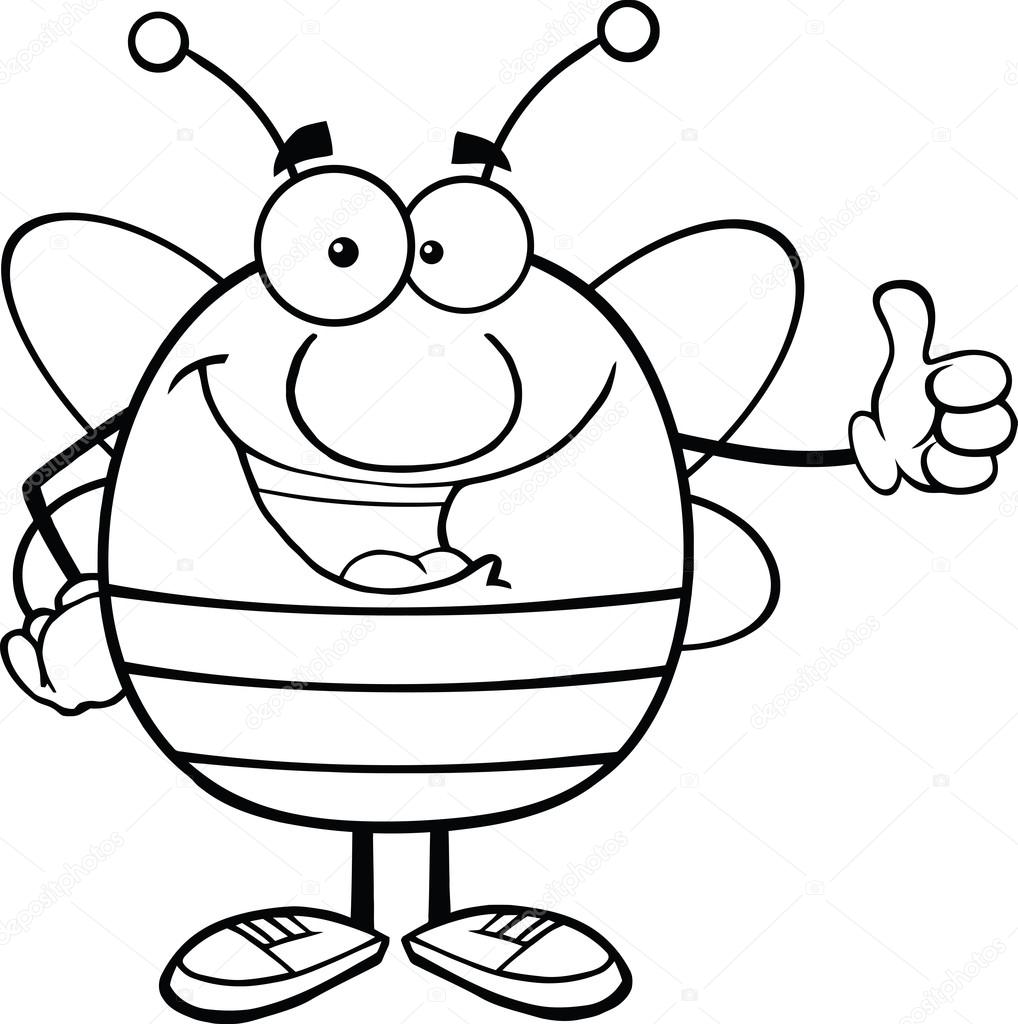 Cartoon Characters Black And White : Black and white pudgy bee cartoon character giving a thumb