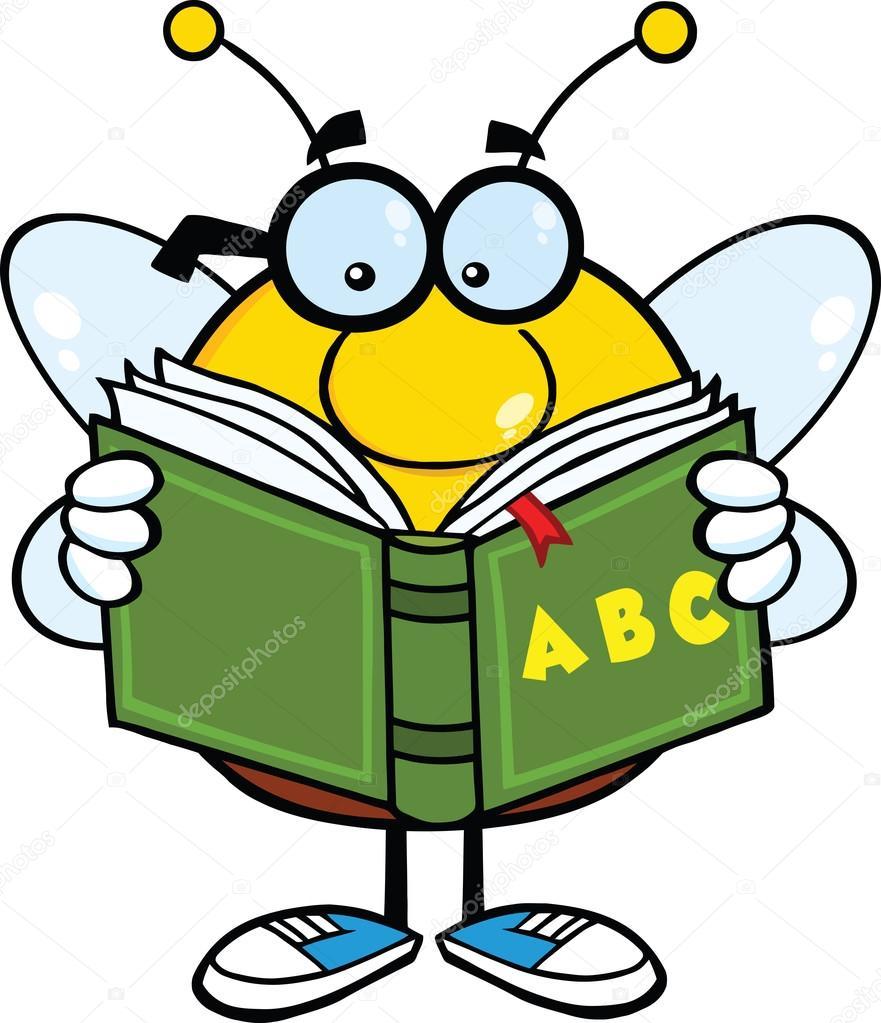 Personaje de dibujos animados abeja regordete con gafas