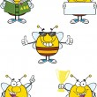 Bee Cartoon Characters  Set Collection 8 — Stock Photo