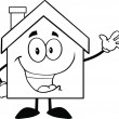 Outlined House Waving For Greeting — Stock Photo