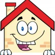 House Character Over Blank Sign — Stock Photo