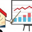 Business House Character With Pointer Presenting A Progressive Chart — Stock Photo #30745227