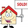 House Character Holding Up A Blank Sign With Text — Stock Photo #30745457