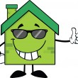 Green Eco House Character With Sunglasses Giving A Thumb Up — Stock Photo