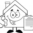 Outlined House Holding A Contract — Stock Photo