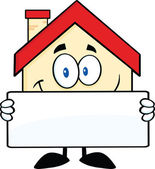 Smiling House Holding A Banner — Stock Photo