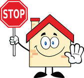 House Character Holding A Stop Sign — Stock Photo