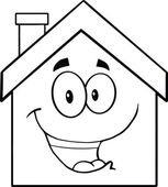Back And White Happy House Cartoon Character — Stock Photo