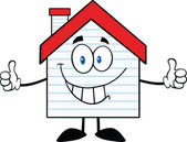 Smiling House Character With New Siding — Stock Photo