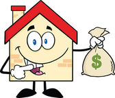 House Cartoon Character Holding A Bag Of Money — Stock Photo