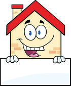 Happy House Over Blank Sign — Stock Photo