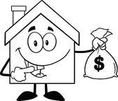 Casa con una bolsa de dinero — Foto de Stock