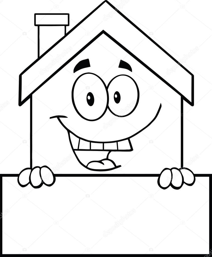Cartoon Characters Black And White : Black and white house cartoon character over blank sign