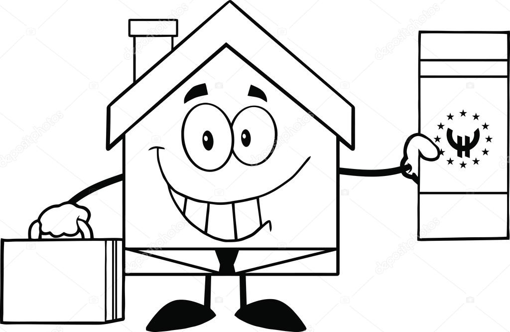 House Cartoon Images Black And White Black And White House