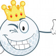 Winking Golf Ball Character With Gold Crown Holding A Thumb Up — Stock Photo