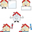 Stock Photo: House Cartoon Characters Set Collection 10