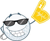 Smiling Golf Ball With Sunglasses And Foam Finger — Stock Photo