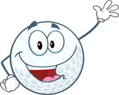 Golf Ball Cartoon Character Waving For Greeting — Stock Photo