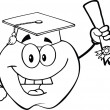 Outlined Apple Holding A Diploma — Stock Photo