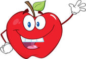 Smiling Apple Cartoon Character Waving For Greeting — Stock Photo