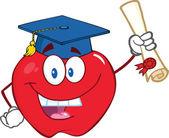 Jabłko charakter absolwent posiadający dyplom — Zdjęcie stockowe