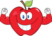 Smiling Apple With Muscle Arms — Stock Photo