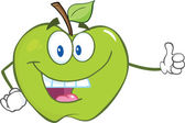 Green Apple Holding A Thumb Up — Stock Photo