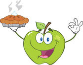 Green Apple Holding Up A Pie — Stock Photo
