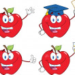 Stock Photo: Apples Cartoon Mascot Characters Set Collection 9