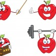 Stock Photo: Apples Cartoon Mascot Characters. Set Collection 10