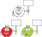 Apples Cartoon Characters Set Collection 2 — Stock Photo