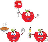 Manzanas de dibujos animados personajes collection set 7 — Foto de Stock