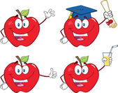 Apples Cartoon Mascot Characters Set Collection 9 — Stock Photo