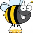 Smiling Cute Bee Character Flying With A Honey Bucket — Stock Photo