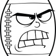 Black And White Angry American Football Ball Cartoon Character — Stock Photo