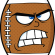 Angry American Football Ball Cartoon Character — Stock Photo
