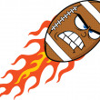 Angry Flaming American Football Ball Cartoon Character — Stock Photo