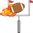 Flaming American Football Ball With Goal — Stock Photo