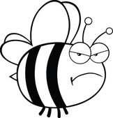 Black and White Angry Bee Cartoon Character — Stock Photo