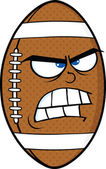 Angry American Football Ball Cartoon Character — Stock Photo