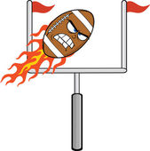 Angry Flaming American Football Ball Character With Goal — Stock Photo