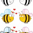 Cute Bee Cartoon Characters. Set Collection 6 — Stock Photo