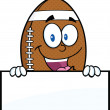 American Football Ball Character Over Blank Sign — Stock Photo