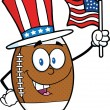 American Football Ball Character With Patriotic Hat And USA Flag — Stock Photo #31215489