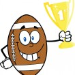 American Football Ball Cartoon Character Holding First Prize Trophy Cup — Stock Photo