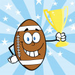 American Football Ball Character Holding Golden Trophy Cup — Stock Photo