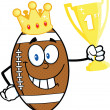 American Football Ball Character With Golden Crown Holding First Prize Trophy Cup — Stock Photo