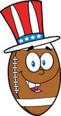 American Football Ball Cartoon Character With Patriotic Hat — Stock Photo