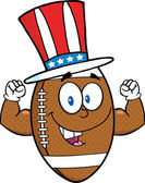 American Football Ball Character With Patriotic Hat Showing Muscle Arms — Stock Photo
