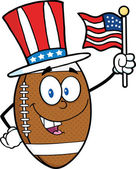 American Football Ball Character With Patriotic Hat And USA Flag — Stock Photo